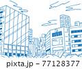シンプルに線で描いた繁華街ビルの背景イラスト素材 77128377