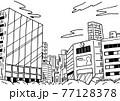 シンプルに線で描いた繁華街ビルの背景イラスト素材 77128378