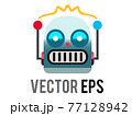 Vector head of classic vintage tin toy grimace robot icon with circular eyes, triangular nose, knobs for ears 77128942