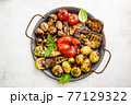 Grilled vegetables and mushrooms 77129322