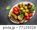 Grilled vegetables and mushrooms 77129326