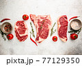 Variety of Raw Meat Steaks 77129350