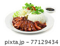BBQ Roast Pork with Sweet Sauce and Rice Recipe Hong Kong Red Pork Style 77129434