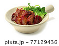 BBQ Roast Pork with Sweet Sauce and Egg Noodles Recipe served in Clay Pot  Hong Kong Red Pork Style 77129436