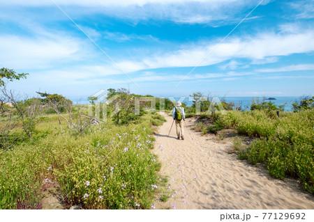 鳥取砂丘でトレッキングするイメージ 77129692