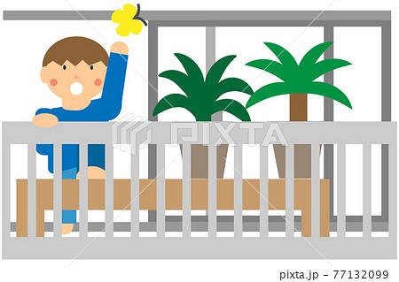 ベランダでの子供の危険な行為(表から見たイメージ) 77132099