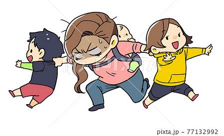 ワンオペ育児をする女性のイラスト 77132992