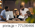 Colleagues working together in modern office using devices and gadgets during creative meeting 77136466