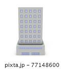ビジネスホテルの建築模型。オフィスビル。白バック。3Dレンダリング。 77148600