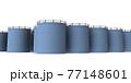 大量に並ぶ処理水タンク。白バック。3Dレンダリング。 77148601