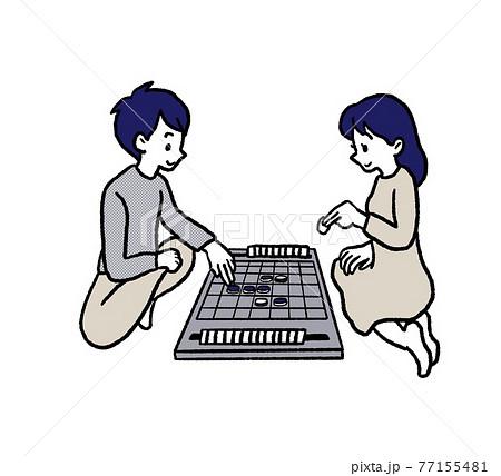 オセロゲームをするカップルのイラスト 77155481