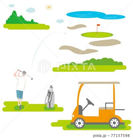 ゴルフをする年配の男性とカートとゴルフバッグのセット 77157598