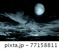 The moon in the night sky 77158811