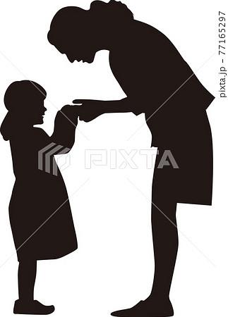 母から子へ何かを渡すイラスト 77165297