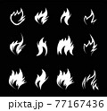 Fire icon on black background. Vector 77167436