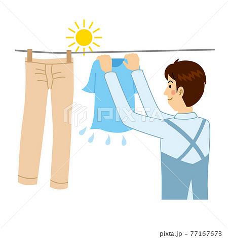 洗濯物干しをする男 77167673