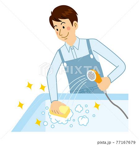風呂掃除をする男 77167679
