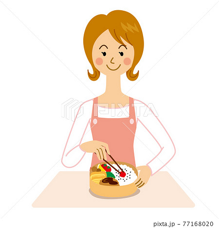 弁当を作る女性 77168020