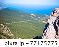 Suspension bridge in the mountains 77175775