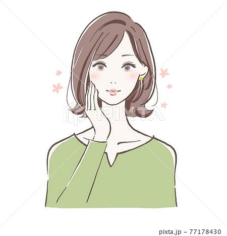 大人の女性 頬に手をそえる ミディアムヘア 77178430