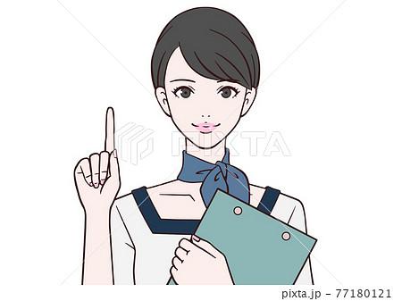 人差し指を立てる受付嬢 77180121