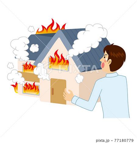 家が火事にあう男性 77180779