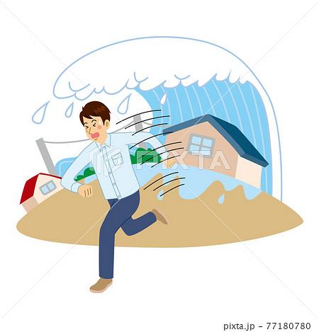 津波から逃げる男性 77180780
