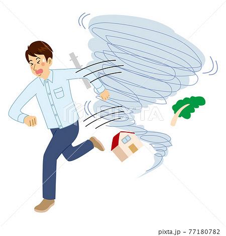 竜巻から逃げる男性 77180782