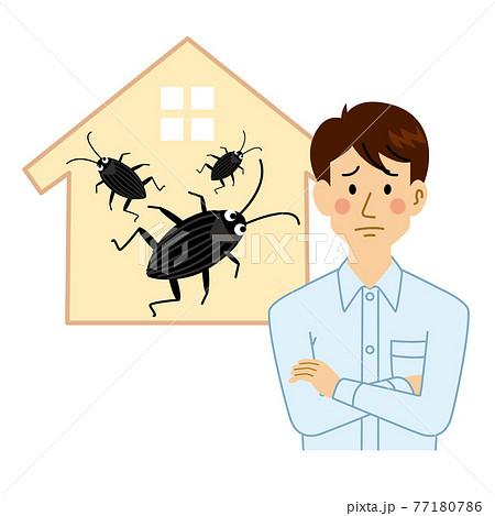 ゴキブリに困る男性 77180786