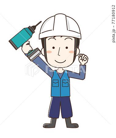 電動工具を持つヘルメットを被った男性 77180912