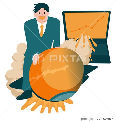 ビジネスで飛躍するサラリーマンのイラスト 77182967
