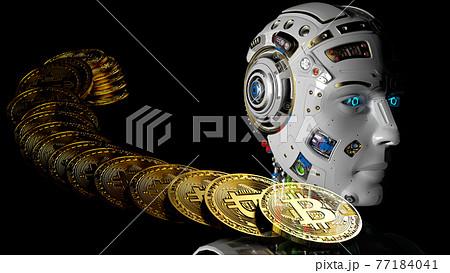 ビットコインとAIロボットのコンセプト3Dイラスト 77184041