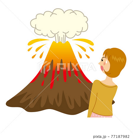 火山が噴火して怖がる女性 77187982