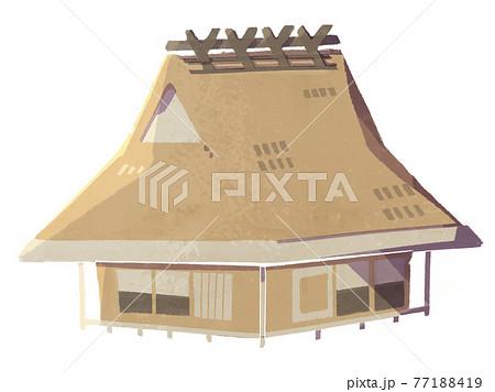 茅葺き屋根の家 77188419
