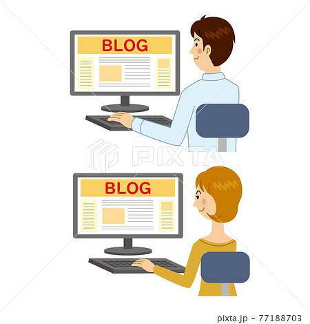 ブログを見る男女 77188703