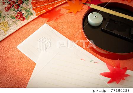 一筆箋で季節の便り 手紙 一筆箋 挨拶状 お礼状 秋色の添え状 77190283