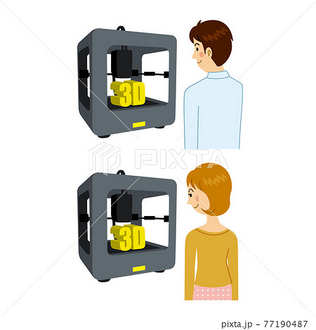 3Dプリンターを使う男女 77190487