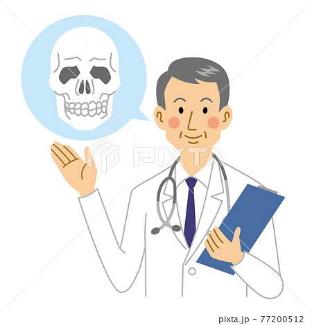 人間の頭蓋骨を説明する医者 77200512