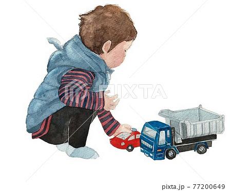 水彩画 子供 はたらく車 77200649