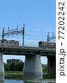 二子橋ですれ違う電車 77202242
