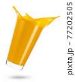 falling glass of mango juice with splash isolated on white 77202505