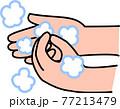 手洗い 泡立てた石鹸で指先と爪の間を丁寧に洗う コロナウイルス風邪インフルエンザ予防・対策 77213479
