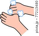 手洗い 泡立てた石鹸で親指の付け根を丁寧に洗う コロナウイルス風邪インフルエンザ予防・対策 77213480