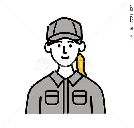 作業服 女性 若い 笑顔 ポップ 手描き 77214820