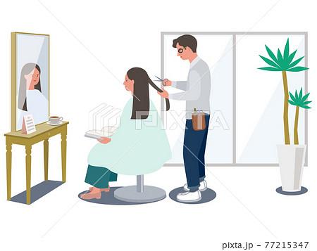 おしゃれな美容院で髪の毛を切る髪の長い女性と男性美容師のベクターイラスト 77215347
