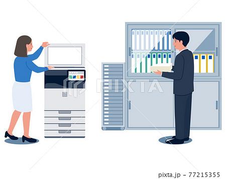 オフィスのコピー機でコピーをとる女性とコピー用紙を持っている男性のベクターイラスト 77215355