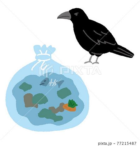 ゴミ袋とカラス 家庭ゴミ 生ゴミ 77215487