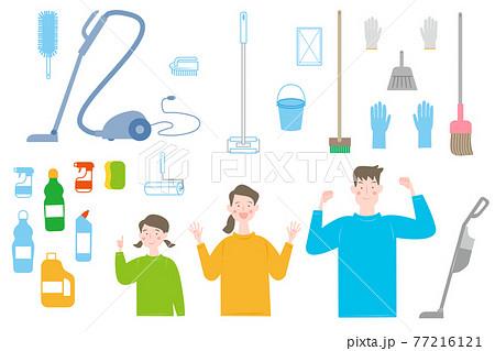 掃除道具と家族のセット 77216121