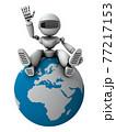 ヨーロッパ経済についてガイドする人工知能のロボット。白バック。3Dレンダリング。 77217153