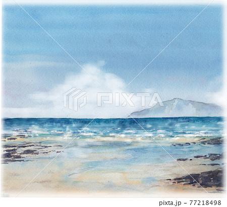 海の風景 水彩画 77218498
